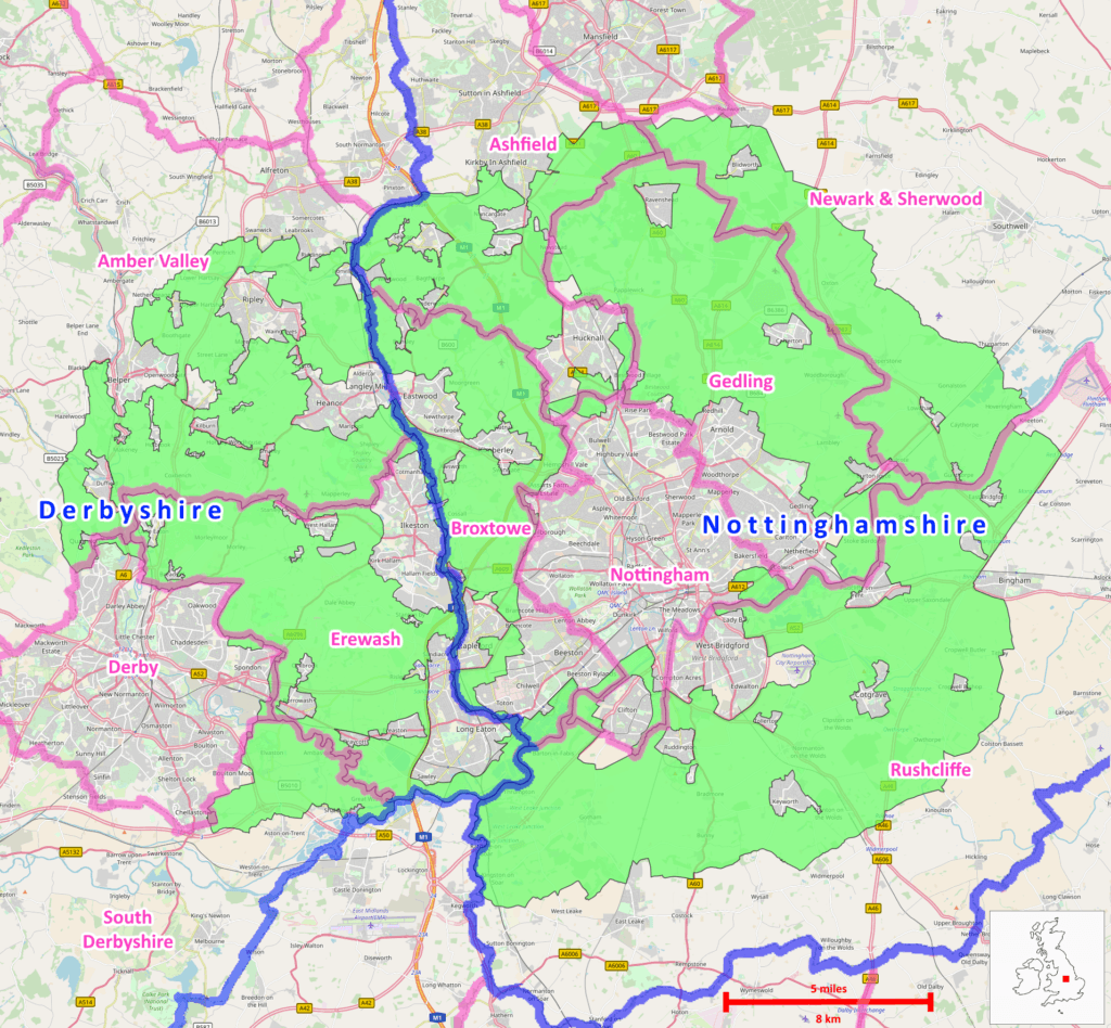 Map of Nottinghamshire and derbyshire